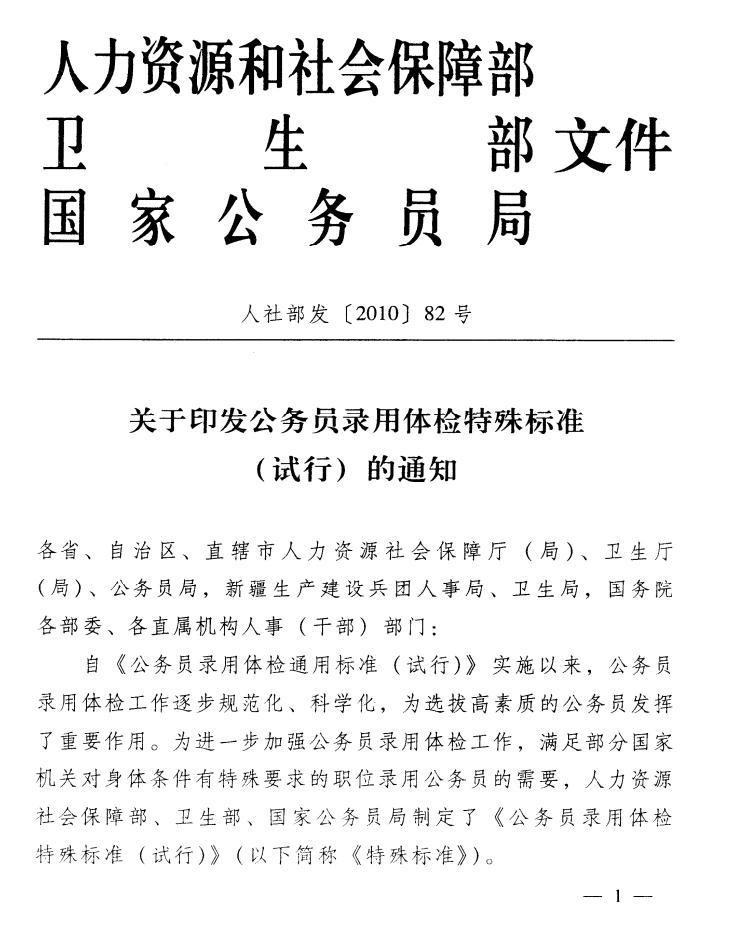 2015年安徽公务员录用体检特殊标准(试行)